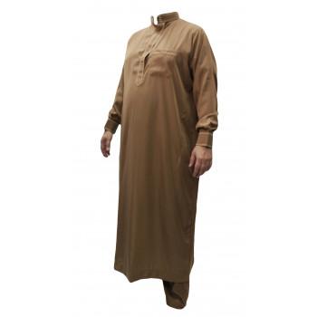 Qamis Camel - Col et Boutton au Manche avec Pantalon Coupe Droite - Afaq - AC1