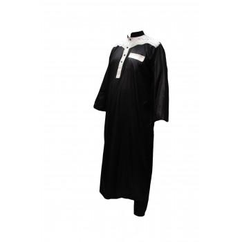 Qamis Afaq - Ensemble Qatari - Bicolor avec Pantalon - Noir - 4277