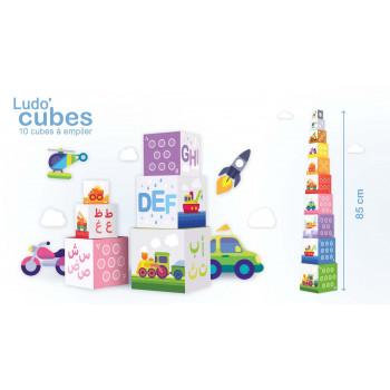 Ludo' Cubes - Tour de 10 cubes à empiler de 85 cm de Haut - J'Apprends l'Alphabet Arabe en s'Amusant - Educatfal - Lettres Arabe
