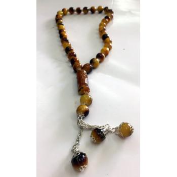 Chapelet - Tasbîh 33 Gros Perles 2 Tons Jaune et Marron