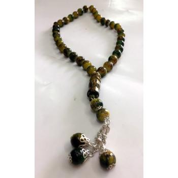 Chapelet - Tasbîh 33 Gros Perles 2 Tons Jaune et Vert - CH2