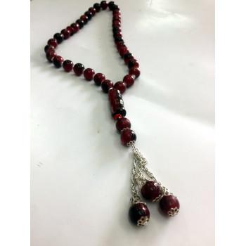 Chapelet - Tasbîh 33 Gros Perles 2 Tons Rouge et Noir - CH3