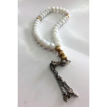 Chapelet - Tasbîh 33 Gros Perles - Blanc - CH4