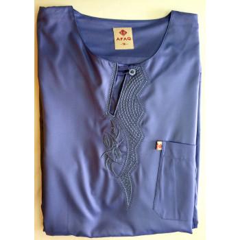 Qamis Bleu Bleuet AFAQ - Manche Longue - Sans Col - Tissu Glacé - 4470