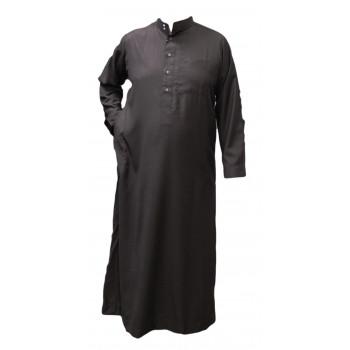 Qamis Marron Foncé - Tissu Léger et Raffiné Style Costard - Manche Longue - Al Hattami - Arabie Saoudite - 201 26