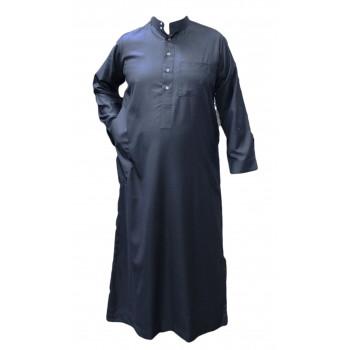 Qamis saoudien bleu gris manches longues costume Al Hattami