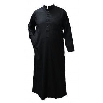 Qamis Noir - Tissu Léger et Raffiné Style Costard - Manche Longue - Al Hattami - Arabie Saoudite - 201 2