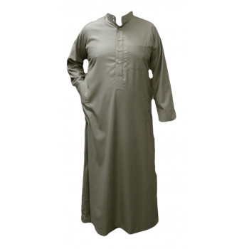Qamis Beige - Tissu Léger et Raffiné Style Costard - Manche Longue - Al Hattami - Arabie Saoudite - 201 26