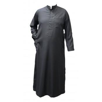 Qamis Gris Anthracite - Tissu Léger et Raffiné Style Costard - Manche Longue - Al Hattami - Arabie Saoudite - 201 22