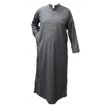 Qamis Gris Clair - Tissu Léger et Raffiné Style Costard - Manche Longue - Al Hattami - Arabie Saoudite - 201 26