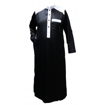 Qamis Bicolor - Noir et Blanc - Tissu Raffiné Glacé - Manche Longue - Al Hattami - Arabie Saoudite - 169 1