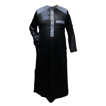 Qamis Bicolor - Noir et Gris - Tissu Raffiné Glacé - Manche Longue - Al Hattami - Arabie Saoudite - 169 3