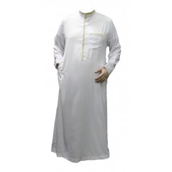 Qamis Blanc et Motif Doré - Tissu Raffiné Glacé - Manche Longue - Al Hattami - Arabie Saoudite - 134