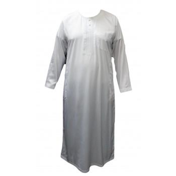 Qamis Blanc et Broderie Ton sur Ton - Tissu Raffiné Glacé - Manche Longue - Al Hattami - Arabie Saoudite - 212