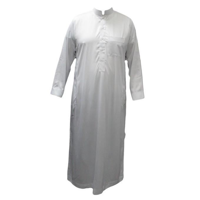 Qamis Blanc - Tissu Raffiné Glacé - Manche Longue - Al Hattami - Arabie Saoudite - 209
