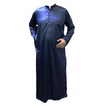 Qamis Bleu Foncé - Tissu Raffiné Glacé - Manche Longue - Al Hattami - Arabie Saoudite - 208