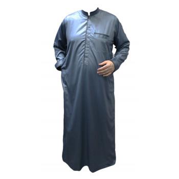 Qamis Bleu Pétrole - Tissu Raffiné Glacé - Manche Longue - Al Hattami - Arabie Saoudite - 208