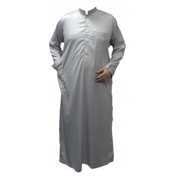 Qamis Gris Clair - Tissu Raffiné Glacé - Manche Longue - Al Hattami - Arabie Saoudite - 208