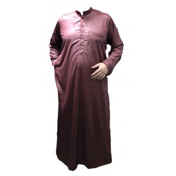 Qamis Bordeau Clair - Tissu Raffiné Glacé - Manche Longue - Al Hattami - Arabie Saoudite - 208