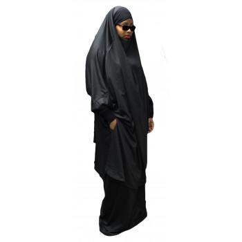 Jilbab Na3im avec Poche 2 pièces Cape + Jupe - Zip sur manche et Jupe - Elegance Femme Noir Intense - 4644