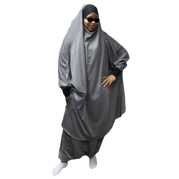 Jilbab Na3im avec Poche 2 pièces Cape + Sirwal - Zip sur manche et Sirwel - Elegance Femme Gris Anthracite - 4645