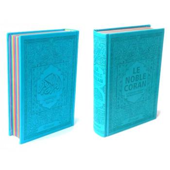 Le Noble Coran Avec Pages En Couleur Arc-En-Ciel, Rainbow - Bilingue Français-Arabe - Couverture Daim De Couleur Bleue