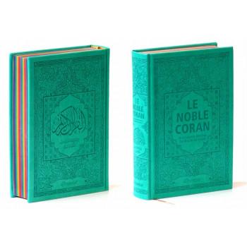 Le Noble Coran Vert - Couverture Daim - Pages En Couleur Arc-En-Ciel, Rainbow - Bilingue Français-Arabe