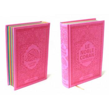Le Noble Coran Avec Pages En Couleur Arc-En-Ciel, Rainbow - Bilingue Français-Arabe - Couverture Daim De Couleur Rose - 4709