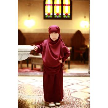 Jilbab Enfant - Couleur Rouge Grenat - 2 à 4 ans - 6 à 8 ans - 10 à 12 ans - Na3im - 4727