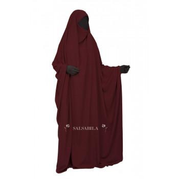 Jilbab Saoudien - Bordeau - 1 Pièce - Tissu Royal Coréen - Salsabila
