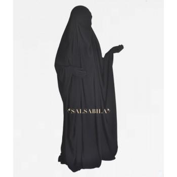 Jilbab Saoudien - Noir - 1 Pièce - Tissu Royal Coréen - Salsabila