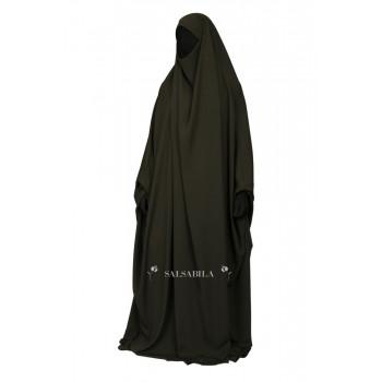 Jilbab Saoudien - Kaki - 1 Pièce - Tissu Royal Coréen - Salsabila