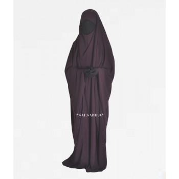 Jilbab Saoudien - Prune Foncé - 1 Pièce - Tissu Royal Coréen - Salsabila