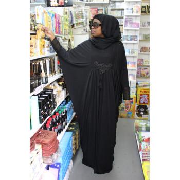 Arbaya Dubaï - Robe Noir avec Motif Ton sur Ton - Manche Papillon - 4765