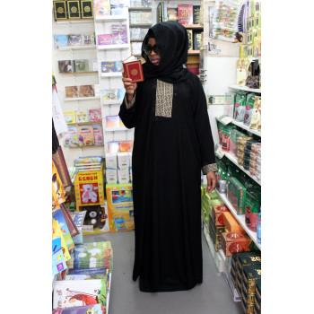 Arbaya Dubaï - Robe Noir Motif Doré - Manche Droite - 4767
