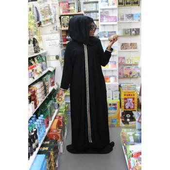Arbaya Dubaï - Robe Noir Motif Beige Tous le Long - Manche Droite - 4768