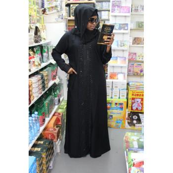 Arbaya Dubaï - Robe Noir et Motif tous le Long - Tissu Qualité Supérieur - 4769