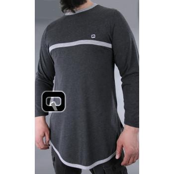 T shirt gris bicolor manches longues Qaba il