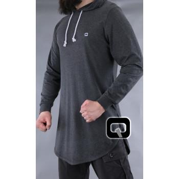 T-Shirt - Gris Anthracite - Manches Longue Capuche - Qaba'il - 10 kaps