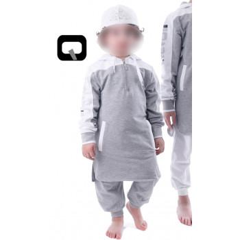 Qamis court gris clair manches longues Qaba il