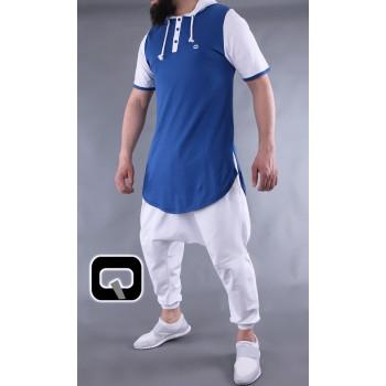 T-Shirt Bicolore avec Capuche - Indigo et Blanc - Manches Courtes - Qaba'il - 11 kaps