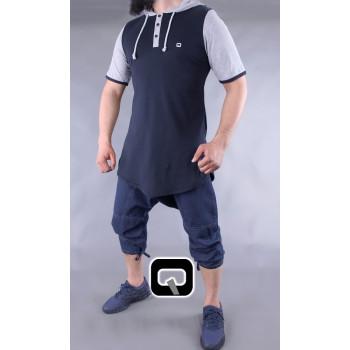 T-Shirt Bicolore avec Capuche - Bleu Foncé et Gris - Manches Courtes - Qaba'il - 11 kaps lacivert