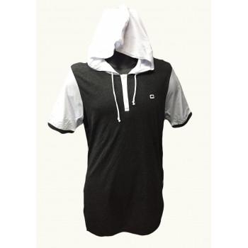T-Shirt Bicolore avec Capuche - Gris Anthracite et Blanc - Manches Courtes - Qaba'il - 11 kaps