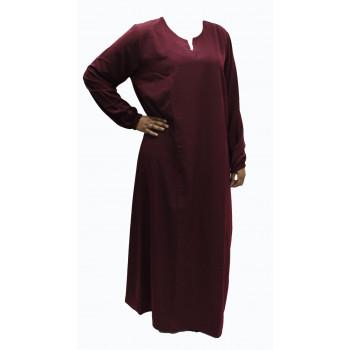 Robe El Bassira - Modèle He - Tissus Tissus Wool Peach n°10 - Couleur Unis - Bordeau - HE10W