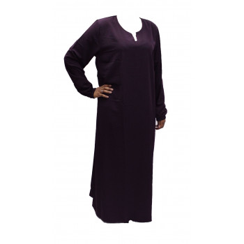 Robe El Bassira - Modèle He - Tissus Tissus Wool Peach n°13 - Couleur Unis - Prune Foncé - HE13W