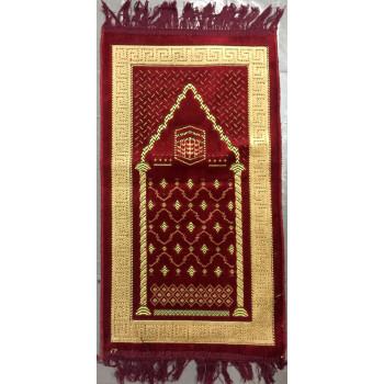 Tapis de Prière Bordeau avec Motif Kaaba - Pour Enfant