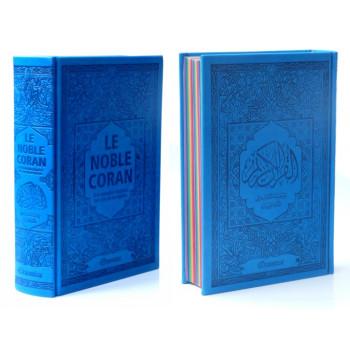 Le Noble Coran Bleu Roi - Couverture Daim - Pages En Couleur Arc-En-Ciel, Rainbow - Bilingue Français-Arabe - 5225