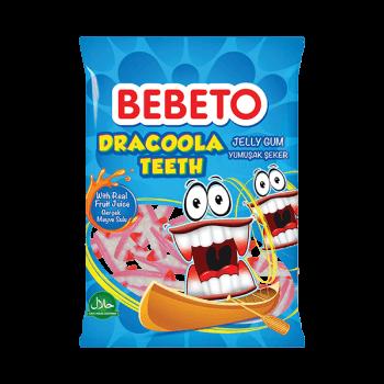 Bonbons Dracoola Teeth - Fabriqué avec du Vrai Jus de Fruit - Bebeto - Halal - Sachet 80gr