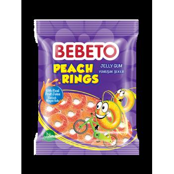 Bonbons Peach Rings - Anneaux de Pèche - Fabriqué avec du Vrai Jus de Fruit - Bebeto - Halal - Sachet 80gr