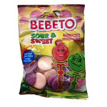 Bonbons Sour & Sweet - Acide et Doux - Fabriqué avec du Vrai Jus de Fruit - Bebeto - Halal - Sachet 80gr